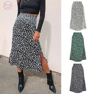2020 Spring And Summer Cross Border Womens Leopard Straight Print Chiffon Print Split Skirt Sexy Zipper High Waist