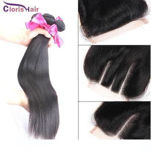 C İşlenmemiş Düz Perulu Bakire İnsan saç örgüleri 3 Paketler ile Dantel Kapatma Ucuz Samanyolu atkıların İpek Üst Kapatma Paketler