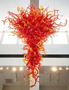 Luxuosa lâmpada contemporânea Vermelho e amarelo LED Cristal Flor Chandelier Casa Decoração Iluminação Mão soprada Lâmpadas de Pingente de Vidro Murano