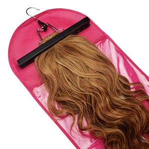 4 Нового цвет парики пакет Сумки для волос Вешалки Пылезащитно ПВХ окно Zip блокировки человеческих волос висячих вешалки упаковки сумки для хранения