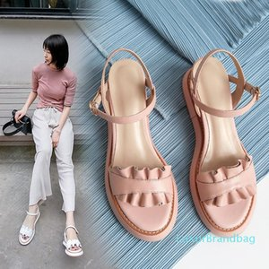 Pop2019 Genuine Woman Sandals Leather Toe Of Slope With Lace Lady One Word Buckle Bring Joker Comfortable Women's Shoes