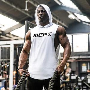 Marca Palestra Abbigliamento Bodybuilding con cappuccio senza maniche fitness Mens Tank Top Muscle Vest Stringer Undershirt Estate TankTop