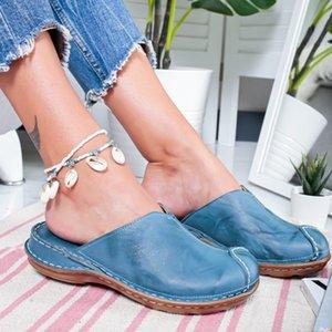 Низкий Круглый Toe Shujin Женщины каблука слайд лето Тапочки Cane Woven пляжная обувь женщина Mule плоские сандалии Sandalia Feminina