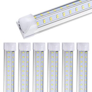 40PCS 8피트 LED 숍 조명기구, 120W 12500lm, 투명 렌즈 커버, 양면 4 행 V 모양 통합 전구 램프, LED 쿨러 문 빛