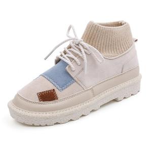 Moda otoño e invierno nuevas botas de las mujeres coreanas estudiantes ocasionales de los zapatos de las mujeres la tendencia de espesor inferior, además de terciopelo cálidas Martin botas las mujeres