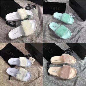 Scarpe Estate Appartamenti dolci Fur Slides reale della pelliccia di Fox pantofole misto del partito di colore di marca di lusso scarpe da spiaggia donna Drop Shipping # 594