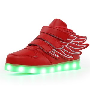 2018 Fashion Red USB Charging Led Children Shoes With Light Up Kids Casual Boys&Girls Luminous Sneakers Glowing Shoe Hook&Loop