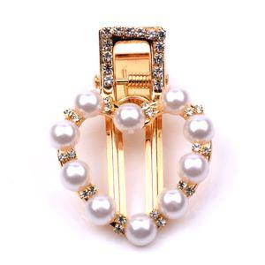 Moda señora horquillas de cristal Rhinestone perla pinzas para el cabello Barrette Hollow ronda Oval geométrica empuñadura del pelo mujeres accesorios para el cabello