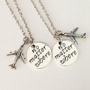 12 pair Plane Traveling The World No Matter Where Friendship Pendant Necklace Long Distance Relationship Gift for Couples Friends Family