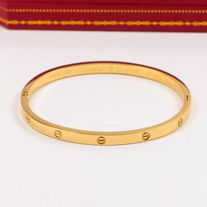 2020 Pares da forma titânioaço Cartier versão estreita subiu bracelete de ouro 18k homens e mulheres presente de fivela Com NO Original BOX H4