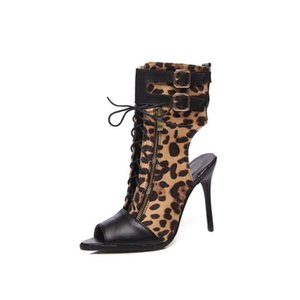 New Sexy Leopard grain Verão Gladiador oco out Cool boots Mulher sapatos de salto alto sandálias lace-up Plus tamanho