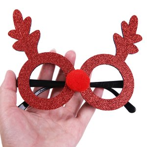 15Styles Christmas Party Eyeglass Decorations Children Toys Deer rabbit Glasses party favor gift decor props Xmas tree pendant FFA2859