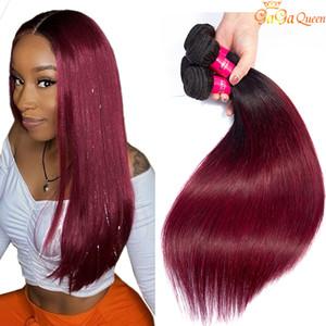 Recta de calidad superior Tone Ombre brasileña del pelo de lotes Dos 1B / 99J Vino tinto brasileña peruana malasia recta Extensiones de cabello humano