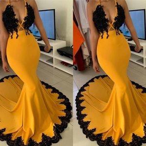 2020 Sexy V-Ausschnitt Ärmel Promkleider-Spitze Brautjungfer Abendkleider vestido Longo de festa Partykleider BC3341