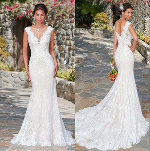 Elegant V-neck Full Lace Mermaid Wedding Dress 2020 Cap Sleeves Applique Open Back Sweep Train Bridal Gowns With Buttons robes de mariée