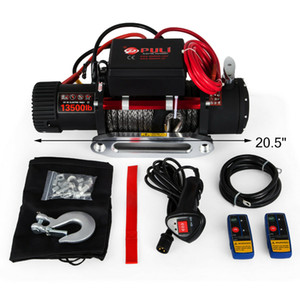 New In Single Line 13500LBS 12V Electric Synthetic Recovery Rope Winch 6123.5kg Gear Train Roller Fairlead