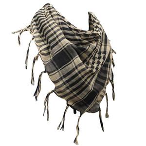 Uomo unisex 100% cotone militare Shemagh collo quadrato deserto stile tattico avvolgere la testa kefiah frange sciarpe sciarpa a scacchi