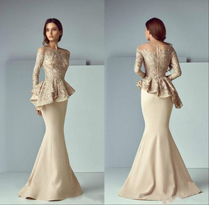 Champagne Lace Stain Peplum Wear Prom Dresses 2020 Sheer Neck Long Sleeve Dubai Arabic Mermaid Long Evening Formal Gowns
