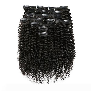 A 100% Remy Clip in Human Hair Extensions Brazilian Hair Natural Color Afro Kinky Curly Human Hair 100G 1Set Ship Free