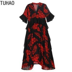 TUHAO Mother Mom Dress Summer Vintage Dresses Plus Size 5XL 4XL 3XL Chiffon Floral Dress Ruffles Long Female 2020 WM07