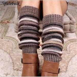 Womens Thick Winter cashmere Knit Women's Underwear Underwearted Leg Warmers Legging Boot Cover Fashion stipe Knit Crochet Gaiters Boot Cuff