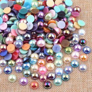 100 Pcs / Lot ABS Résine Dôme Cabochons Imitation Perle 10mm Rond Dos Plat Perles DIY Bijoux Prise Constatant À La Main Composants