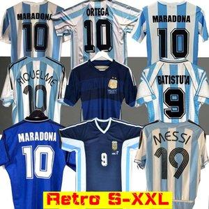 Retro 1986 Argentine maison maillot de football Messi Maradona CANIGGIA 1978 1996 Football Shirt Batistuta 1998 RIQUELME 2006 1994 ORTEGA CRESPO
