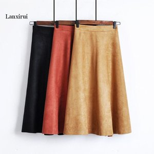 women skirts autumn winter plus size long length flared coffee orange black micro fiber leather office casual sexy skirt