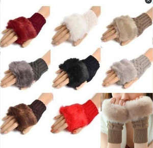 SellingWool Mixed Artificial Fur Ladies Unspecified Glove Knitted Crochet Winter Glove Warmer Evening Gloves WO21