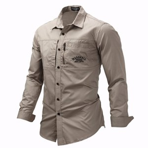 Fredd Marshall 2019 Fashion Military Shirt Long Sleeve Multi-pocket Casual Shirts Brand Clothes Army Green Camisa Masculina 117 MX200518