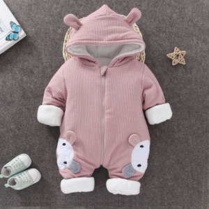 Baby Winter Hooded Rompers Overalls Thicken Warm Pure Cotton Newborn Jumpsuit Snowsuit Children Boys Girls Clothing CL2091