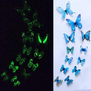 12pcs / ensemble lumineux papillon mur autocollant salon papillons pour la décoration de fête de mariage accueil 3d réfrigérateur autocollants papier peint