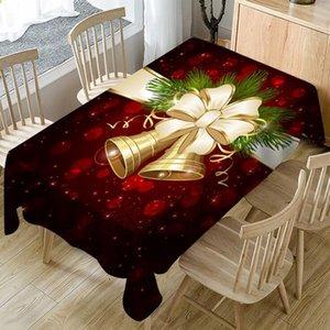 크리스마스 식탁보 크리스마스 벨 Milu 사슴 인쇄 대형 타올 차 방수 만화 테이블 천으로 크리스마스 테이블 장식 가정용 수건 WY103