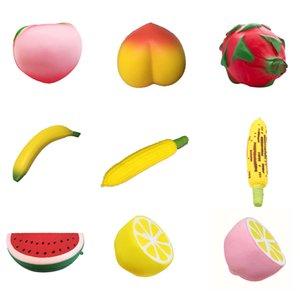 Squishy 과일 - 수박 옥수수 복숭아 레몬 바나나 squysies 완구 인형 천천히 상승 스트레스 릴 리키 짜기 아기 키즈 Xmas 선물