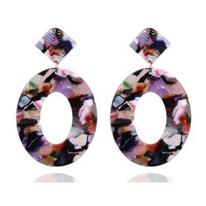 Mode Acrylique ovale Boucles d'oreilles Dangle pour les femmes imprimé léopard acétate long Dangle Boucles d'oreilles Bohème Bijoux Cadeaux Mix Couleurs