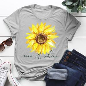 Рост женской моды и графического подсолнуха футболку светиться футболка летом случайные футболка с коротким рукавом Веры