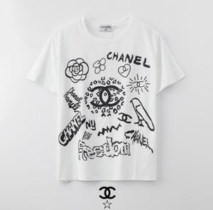 cotone di alta qualità del design della moda 2020 delle donne graffiti stampato T-shirt manica corta, tessuto morbido e confortevole, senza spese di spedizione