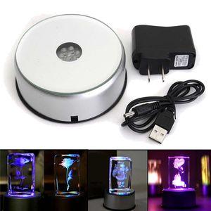 LED colorato luminoso luce di base Laser Rotante di cristallo Display di base del Supporto Del Basamento Con adattatore CA di vetro trasparente oggetti
