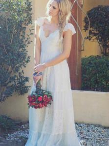 Встроенные кружева Boho Свадебные платья с Cap рукава Сельский Backless Bohemian Свадебное платье 2019 Summer Beach Chic Свадебные платья
