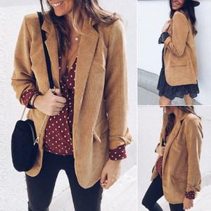 Mujer dama otoño invierno chaqueta de abrigo de pana solapa Blazer largo abrigo Outwear