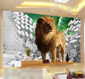 нестандартный размер 3d фото обои гостиной 3d росписи лев сломанная стена 3d картина диван тв фоне обои нетканые стикер стены