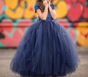 Marineblau Blumenmädchenkleider Kleines Baby Kleinkind Kleinkind Taufe Kleidung Mit Ballettröckchen Tüll Bogen Ballkleider Geburtstagsfeier Billig Nach Maß