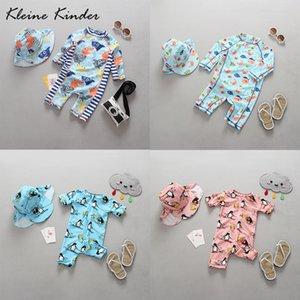 Kleine Kinder One Piece bebê Swimwear dos desenhos animados de impressão UV Protection Sun mangas compridas criança Meninas Meninos Maiô Swimsuit 0-4Y