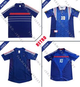 França 1984 1996 European Cup France 2002 2004 Zidane casa retro clássico 96 02 # 10 Zidane do futebol camisetas Camisa