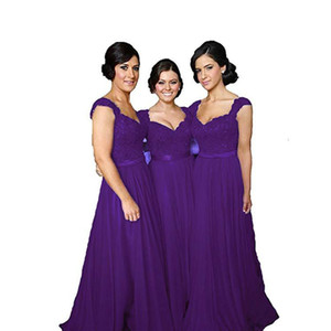 Lace Chiffon Bridesmaid Maid Of Honor Dresses 2021 Purple Royal Blue Lavender A Line Wedding Guest Gowns