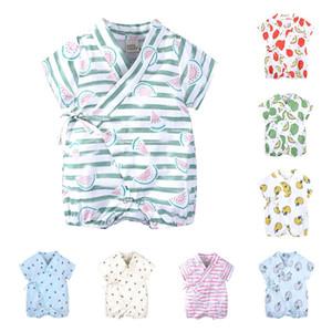INS Bebek Tulum Friut Baskılı Yenidoğan Tulumlar Kısa Kollu Bebek Tırmanış Giyim 2019 Lace Up Yaz Rahat Çocuk Giyim 9 Renkler C6226