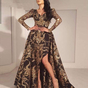 Luxus Schwarzes Gold Glitter Meerjungfrau Lange Ärmel Abendkleid 2019 Saudi-Arabien Dubai Marokkanischer Abnehmbarer Zug Muslim Prom Kleid