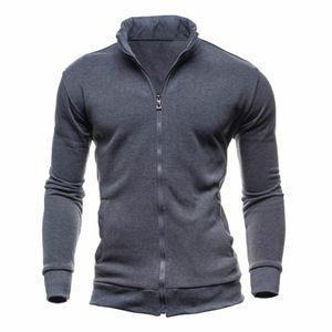 Uomo Full Zip Felpe dolcevita a maniche lunghe cardigan alla moda casuale sottile del cappotto con cappuccio Autunno Inverno sportivo all'aperto