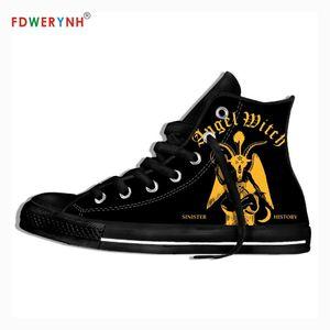 Uomini a piedi scarpe di tela band Angel Witch Banda coppia Feminino Zapatos misura Colore Lace-up Svaghi Scarpe con la zeppa