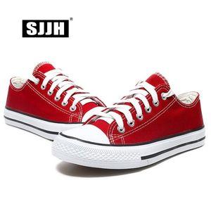 SJJH Femmes toile Sneakers Lovers Chaussures confortables vulcaniser Flats Casual Homme Chaussure à lacets Chaussures Femme Baskets D002 CJ191228